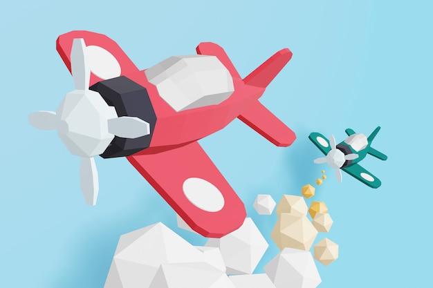 3d-дизайн рендеринга, бумажный стиль стиля боя воздушного бойца-истребителя.