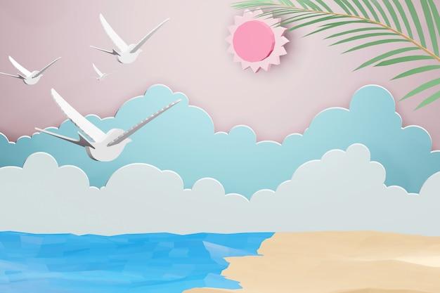 3dレンダリングデザイン、太陽の下でビーチと雲の背景と海のペーパーアートスタイル