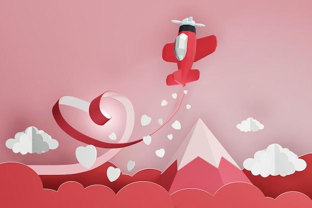 3dレンダリングデザイン、赤い飛行機が空を飛んでいるハートリボンのペーパーアートスタイル。