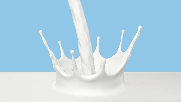 3d представляют лить молоко с выплеском кроны.