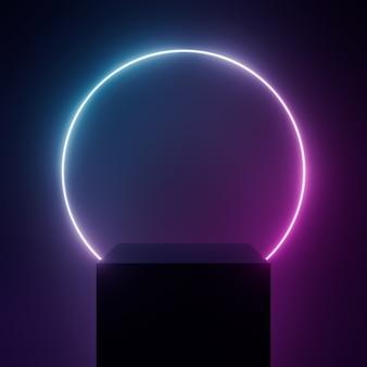 3d визуализация подиум с черным светом неон на черном