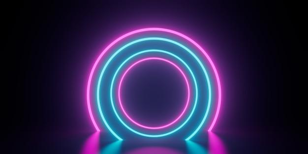 Абстрактный круг кольцо неоновый свет футуристический киберпанк 3d визуализации