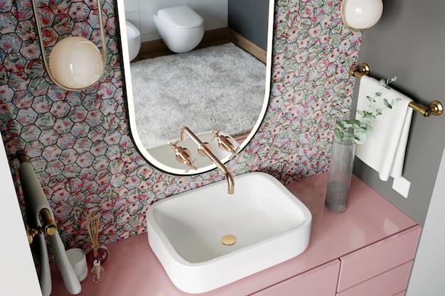 ピンクとブルーの色合いの六角形のモザイクの壁のあるモダンなバスルームのインテリア。 3dレンダー