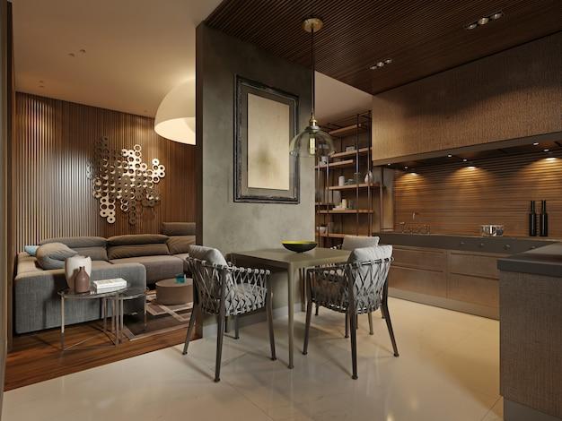 暗い茶色のスタジオアパートメントの現代的なスタイルのキッチン付きのダイニングルーム。リビングとキッチンを仕切る仕切り壁。 3dレンダリング。