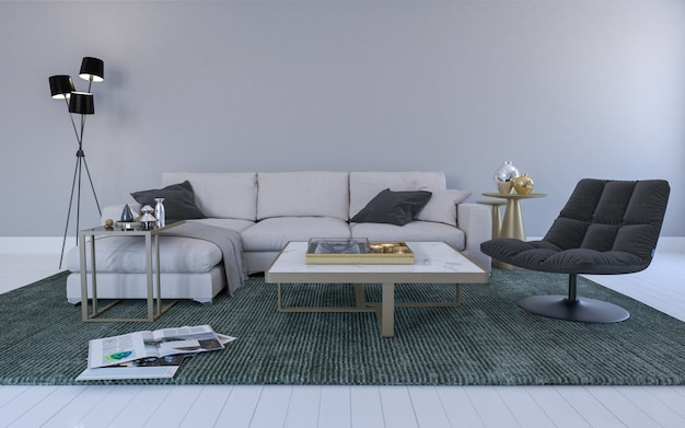 Реалистичная 3d визуализация интерьера современной гостиной с диваном, диваном и столом