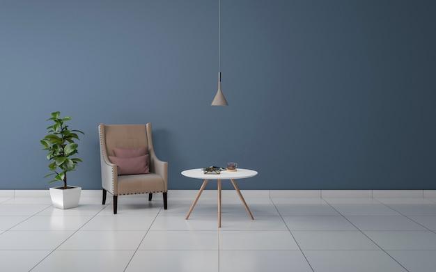 ソファ、ソファ、テーブル付きのモダンなリビングルームのインテリアのリアルな3dレンダリング