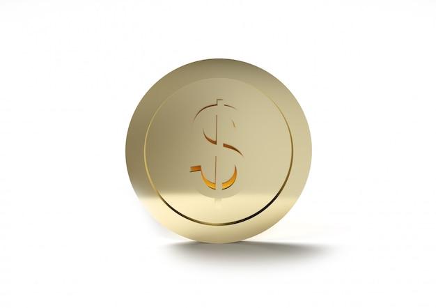 3d-рендеринг монеты доллар сша на белой стене