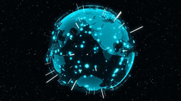 3dデジタルアースはグローバルネットワークの概念を示しています