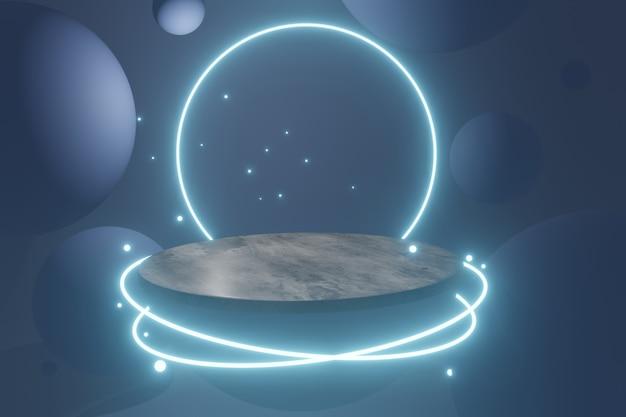 輝くネオンの丸い照明を備えた未来的なテクノロジーの空のプラットフォーム。 3dレンダリング