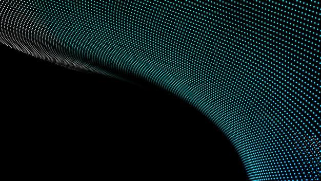 抽象的な風景の背景。サイバースペースのグリーンポイント。ハイテクネットワーク3dイラスト