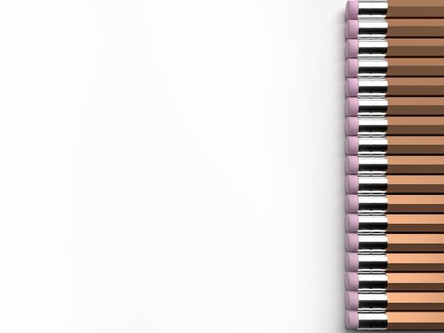 白い背景に多くの鉛筆、3dレンダリング