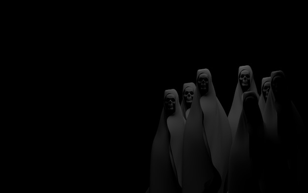 黒の背景にゴースト。黙示録と地獄の概念。 3dレンダリング