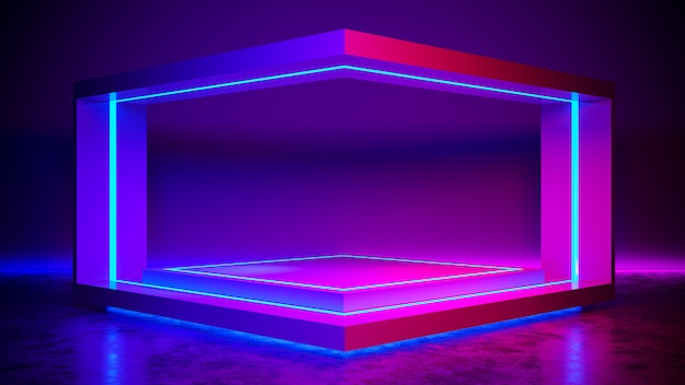Треугольник этап абстрактный футуристический, ультрафиолетовая концепция, 3d визуализации