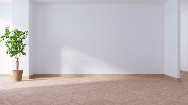 Просторная современная и минималистичная гостиная, пустая комната, растение на деревянном полу, 3d-рендеринг