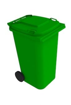 白い背景に閉じたふたを付けた緑色のゴミゴミ箱の等角図、3dレンダリング