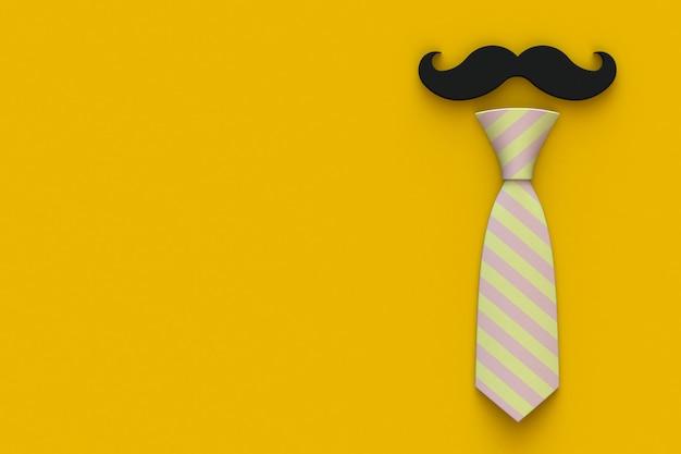 Счастливая концепция дня отцов с усами и галстук на желтом фоне, вид сверху с копией пространства, 3d-рендеринг