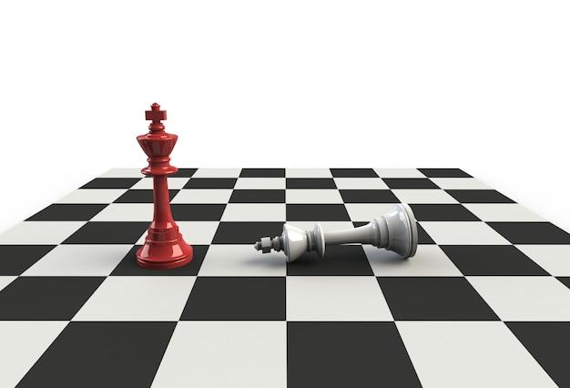 Шахматный король на игровой доске, 3d-рендеринг