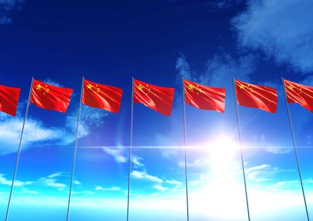 青空の下での中国の国旗、3dレンダリング