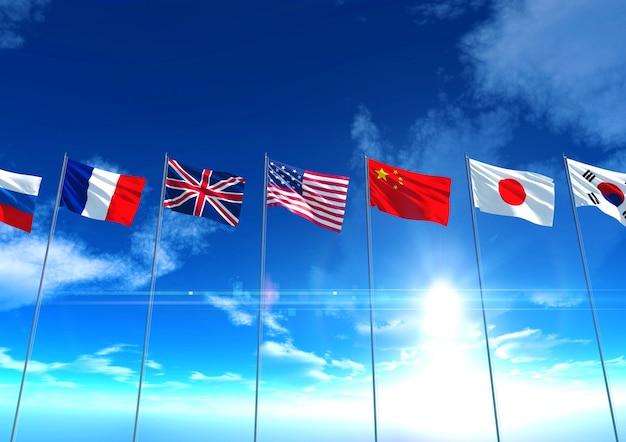 国際国旗、3dレンダリング