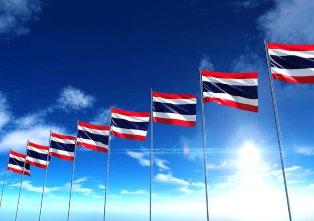 青空の下でのタイの旗、3dレンダリング