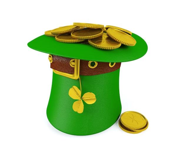 Шляпа лепрекона дня святого патрика с золотыми монетами, 3d-рендеринг