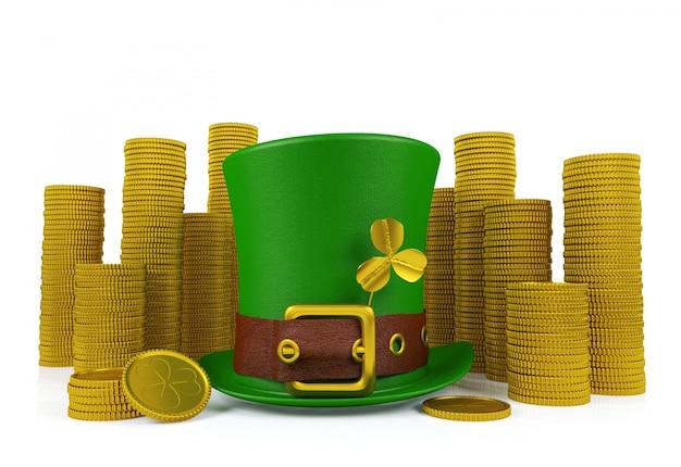 Шляпа лепрекона дня святого патрика с кучами золотых монет, 3d-рендеринг