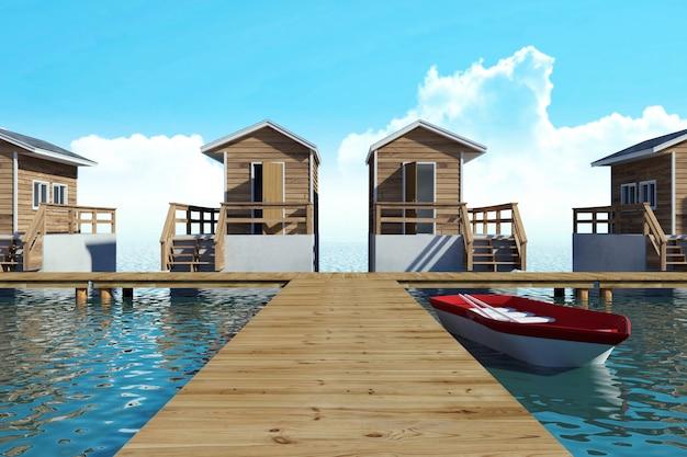 ボート、3dレンダリングと休暇のための水上近代的なバンガローリゾート