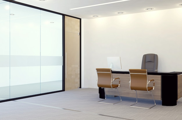 Современный интерьер офиса, 3d-рендеринг