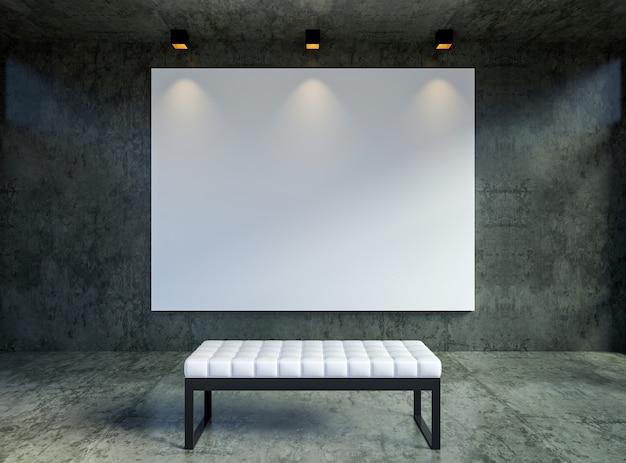 Макет пустой холст кадр-афишу в интерьере современной чердак галереи, 3d-рендеринга