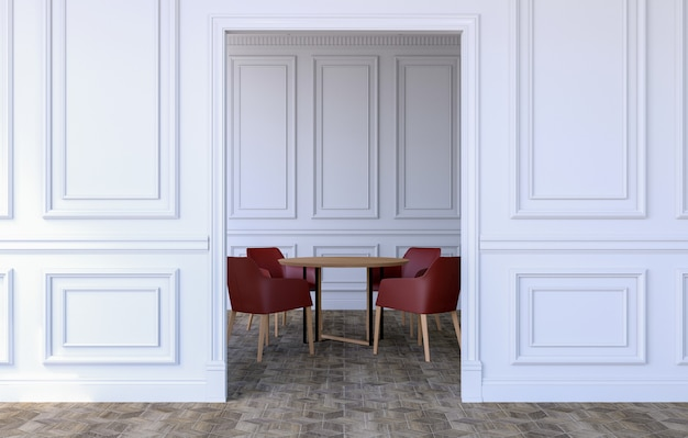 ダイニングテーブルと椅子、3dレンダリングが施されたモダンなクラシックデザインの高級ルームのインテリア