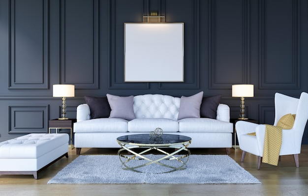 Современная классическая роскошная предпосылка интерьера живущей комнаты с рамкой плаката макета, переводом 3d