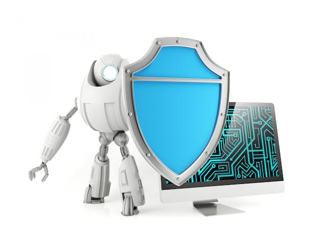 Робот держит щит, защищая компьютер, концепция системы компьютерной безопасности, 3d-рендеринг