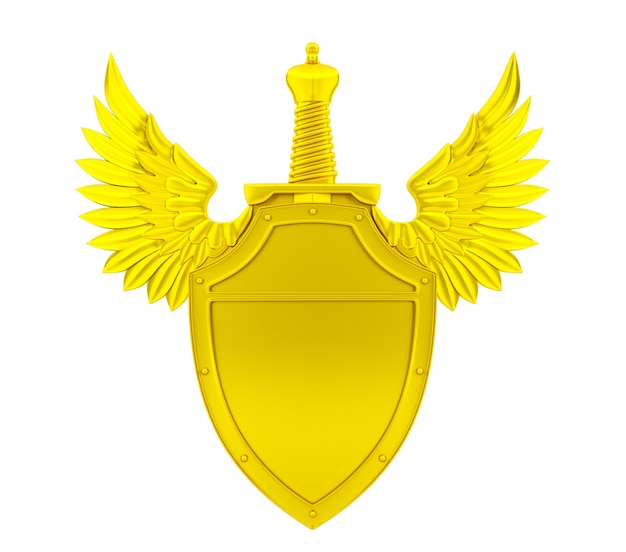 Золотой щит с крыльями и мечом, 3d-рендеринг