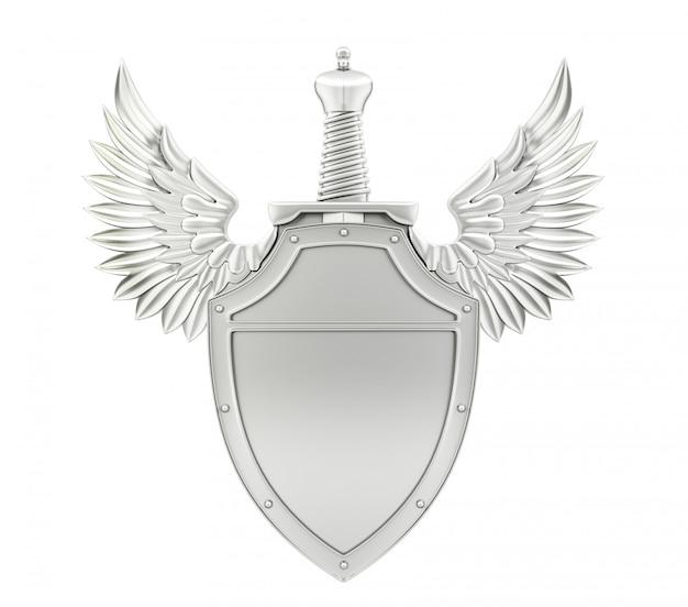Серебряный металлический щит с крыльями и мечом, 3d-рендеринг
