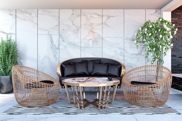 Интерьер современного вестибюля гостиницы и ресепшн, 3d рендеринг