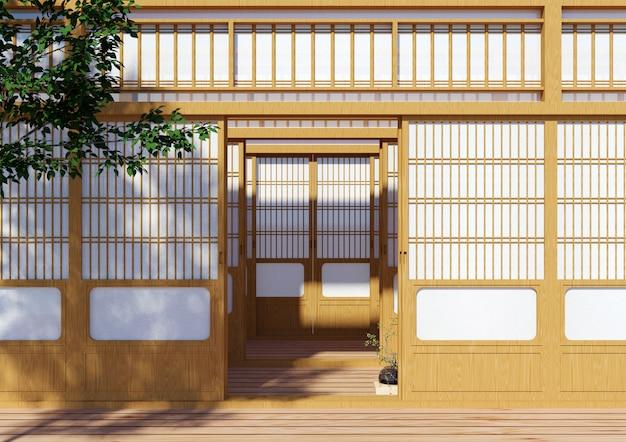 Деревянная традиционная японская дверь сёдзи, японская традиционная внешность здания, 3d-рендеринг