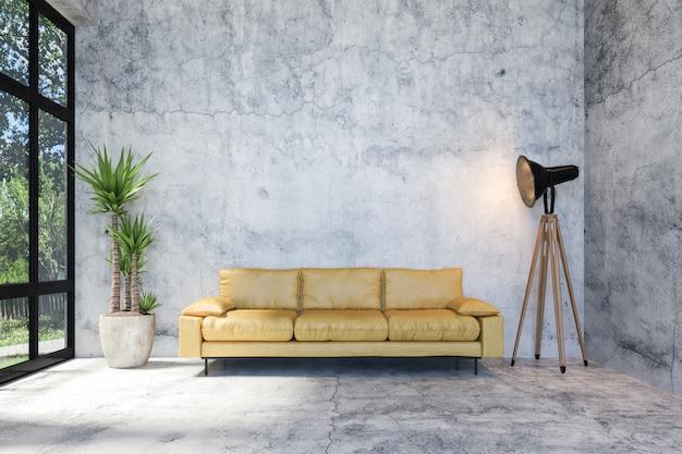 Интерьер современной гостиной в стиле лофт из бетона с мебелью в стиле ретро и копией пространства на стене для макета, 3d-рендеринга