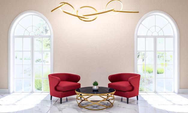 Интерьер современной классической гостиной с мебелью и копией пространства на стене для макета, 3d-рендеринга