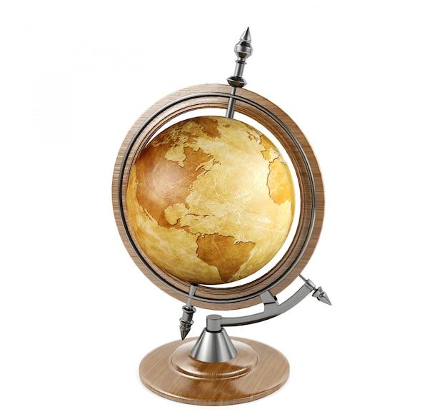 Винтажный земной шар изолированный на белой предпосылке, переводе 3d