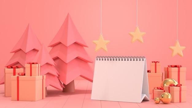 3d представляют изображение пустой бумаги календаря для цели следующего года украшают с сценами орнамента рождества.
