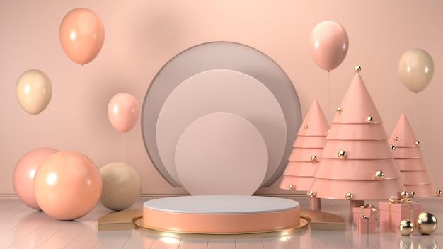 3d представляют изображение подарочной коробки рождества украшают на пастельном цвете пинка подиума.