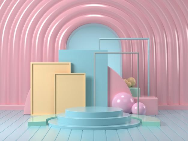 3d визуализация макет подиума абстрактный пастельных подиум