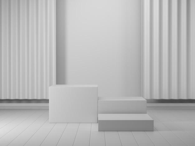 3d визуализация, абстрактные геометрические, цилиндрический подиум, минималистичные примитивные формы, современный макет, пустой шаблон, золотая металлическая сетка, сетка, пустая витрина, витрина магазина