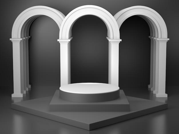 黒い色の3dレンダリングイメージの製品ディスプレイスタンド、黒い線のパターンと上からの光の黒いシリンダースタンドがあります