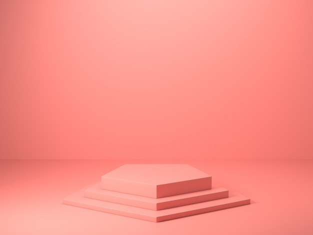 3d визуализация абстрактного розового цвета геометрической формы, современный минималистский макет для подиума дисплея или витрины