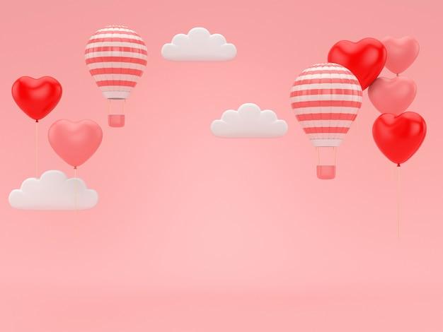 3d представляют воздушного шара валентинки плавая на розовую романскую предпосылку.