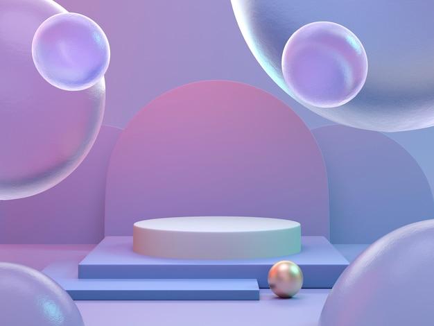 3d представляют красочную предпосылку подиума градиента для дисплея продукта.