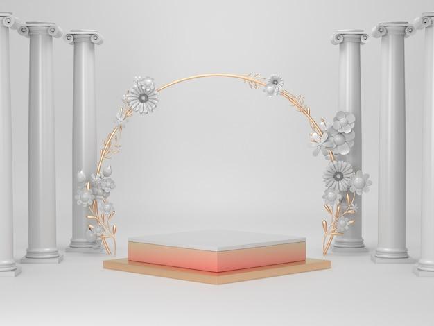 3d визуализация белый и золотой подиум для косметического продукта
