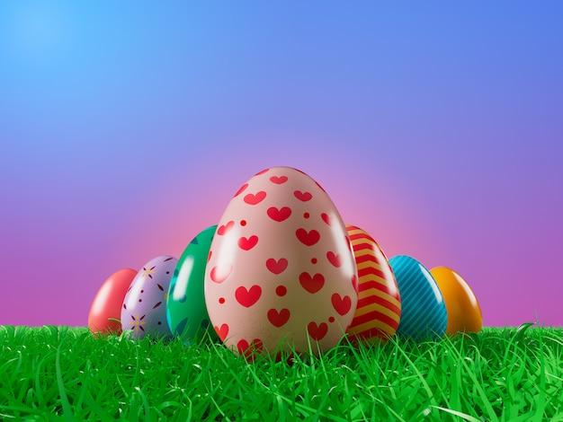 3d визуализации изображения пасхальное яйцо украшают на траве поля