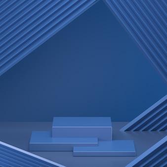 3d представляют минимальный геометрический классический голубой подиум.